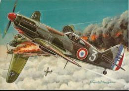 Les Chasseurs De La Seconde Guerre Mondiale - DEWOITINE 520 - Dessin De Francis Bergèse. CPSM. - 1939-1945: 2ème Guerre