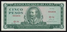 CUBA 5 PESOS 1968 PICK 103a UNC - Kuba