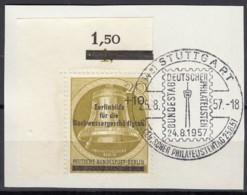 BERLIN  MiNr. 155 PF I, Eckrand Oben Links, Gestempelt Auf Briefstück, Hochwassergeschädigtenhilfe, 1956 - Used Stamps