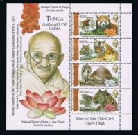 Tonga 2016; Fauna & Animals Of India; Gandhi; MNH / Neuf** / Postfrisch!!  CV 25 Euro!! - Tonga (1970-...)