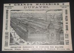 1899 GRANDS MAGASINS DUFAYEL TENTURES INSTRUMENTS MUSIQUE BRONZES ANTIQUE ADVERTISING FRENCH STORE - Pubblicitari