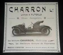 1909 CHARRON VOITURE AUTOMOBILE USINES A PUTEAUX PUBLICITE ANCIENNE ANTIQUE ADVERTISING CAR PUBBLICITA - Advertising
