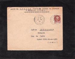 LSC 1943 - Cachet CHAVILLE - Banlieue Ouest Sur Timbre Pétain YT 517 - Marcofilia (sobres)
