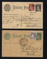 Conjuntos 2 Postais Inteiros Com 5 Selos CERES, Com Mais 1 Selo, P/COVILHA. Set 2 Old Postal Stationary Uprated Portugal - Oblitérés