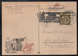 ALLEMAGNE - III REICH - WURZBURG / 1944 CARTE DE FRANCHISE MILITAIRE ILLUSTREE & OBLITERATION  (ref LE3750) - Germany