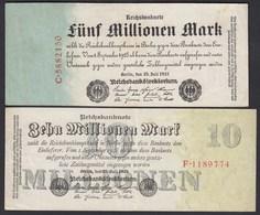 Reichsbanknoten - 5 + 10 Millionen Mk 1923 Ros. 94 + 95  VF (3)  (22322 - Germania