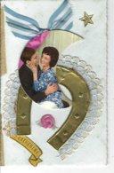 """T.Belle Carte Fantaisie """" Ste CATHERINE """"  Avec Ajoutis , Fer à Cheval , Ruban , Dentelle , Photo D'un Couple - Mechanical"""