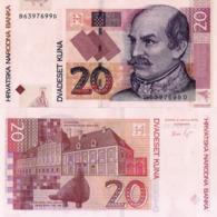 CROATIA 20 Kuna, 2012 UNC P39b, Ban Josip Jelacic And Castle Eltz In Vukovar - Kroatië