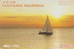 Carte Japon - BATEAU Voilier & Coucher De Soleil ** HAYAMA MARINA **- Sailing SHIP & Sunset Japan Keikyu Card - 159 - Boats
