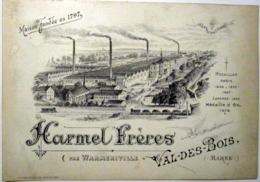 51 VAL DES BOIS WARMERIVILLE   HOURMEL FRERES CARTE COMMERCIALE INDUSTRIE USINE VERS 1890 - Francia