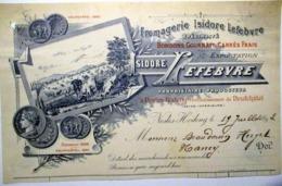 76 NESLES HODENG FROMAGERIE ISIDORE LEFEBVRE BONDONS GOURNAYS EN TETE DE FACTURE 1892 - 1800 – 1899