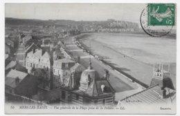 MERS LES BAINS EN 1914 - N° 55 - VUE GENERALE DE LA PLAGE PRISE DE LA FALAISE - BEAU CACHET - CPA VOYAGEE - Mers Les Bains