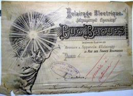 ECLAIRAGE ELECTRIQUE LUC BAGUES 31 RUE DES FRANCS BOURGEOIS PARIS   EN TETE DE FACTURE 1895 - 1800 – 1899