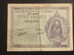 Algerie 20 Francs 1943 Pick 17 Ref 909 - Algeria