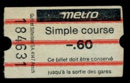 Ticket - Billet Ou Titre De Transport Métro - LAUSANNE - 60 - Simple Course - Busse