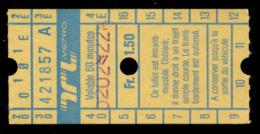 Ticket - Billet Ou Titre De Transport Métro-Bus - LAUSANNE - TL - 1,50 Fr - Codification - Busse