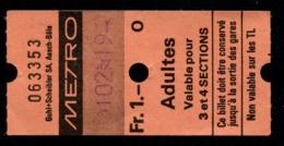 Ticket - Billet Ou Titre De Transport Métro - LAUSANNE - 1 Fr - Adultes - Codification - Lettre O - Busse