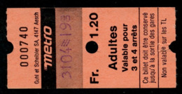 Ticket - Billet Ou Titre De Transport Métro - LAUSANNE - 1,20 Fr - Adultes - Valable Pour 3 Et 4 Arrêts - Codification - Busse