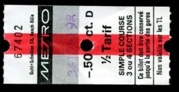 Ticket - Billet Ou Titre De Transport Métro - LAUSANNE - 50 Ct D - 1/2 Tarif - Simple Course 3 Ou 4 Sections - Cod. - Busse