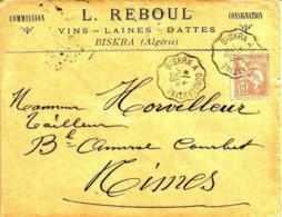 Cachet Ambulant De  BISKRA à CONSTANTINE Pour NIMES - 1903 - - Algerien (1924-1962)