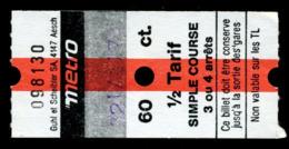 Ticket - Billet Ou Titre De Transport Métro - LAUSANNE - 60 Ct - 1/2 Tarif - Simple Course 3 Ou 4 Arrêts - Cod. - Busse