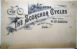 BICYCLETTES VELOS THE SCORCHER CYCLES 226 BD VOLTAIRE PARIS   EN TETE DE FACTURE VERS  1890 - 1800 – 1899