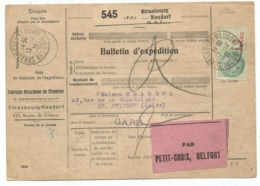 BULLETIN EXPEDITION PP STRASBOURG NEUDORF PP 12.12.1931 POUR ST ETIENNE LOIRE COTE 130€ - Poststempel (Briefe)