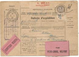 BULLETIN EXPEDITION PP STRASBOURG NEUDORF MAUREL PP 7.1.1932  POUR LYON RHONE  COTE 130€ - Poststempel (Briefe)