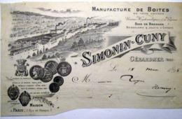 88 GERARDMER  SIMONIN CUNYMANUFACTURE DE BOITES JOUETS EN BOIS BROSSES   EN TETE DE FACTURE VERS  1895 - 1800 – 1899