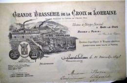 55 BAR LE DUC BIERE BRASSERIE DE LA CROIX DE LORRAINE 65 RUE DE LA VICTOIRE  EN TETE DE FACTURE VERS  1890 - France