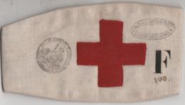 Brassard Croix Rouge / UFF Union Femmes Françaises / Comité 106 De Lons Le Saunier / 2 Cachets + F / 39 Jura - 1914-18