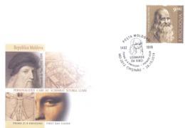 2019. Moldova,  Leonardo Da Vinci, People Who Changed The History Of The World, FDC, Mint/** - Moldavie