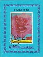 Ajman 1972 Lovers Roses Flowers Fiori Da Giardino Rosa Rose Perf. Nuovo Preoblit. - Ajman