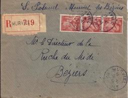 IRIS N° 452x3 SUR LETTRE DE 1944 - 1939-44 Iris