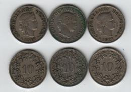 SUISSE 10 Rappen 1919 + 1920 + 1921 Switzerland - Suisse
