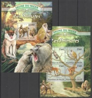 QQ900 2013 NIGER FAUNE NIGER WILD ANIMALS LES PRIMATES MONKEYS KB+BL MNH - Singes