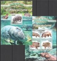 TT1336 2013 NIGER FAUNE NIGER WILD ANIMALS LES HIPPOPOTAME HIPPOPOTAMES KB+BL MNH - Autres