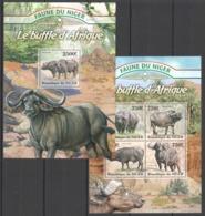 TT1340 2013 NIGER FAUNE NIGER WILD ANIMALS LE BUFFLE D'AFRIQUE AFRICAN BUFFALO KB+BL MNH - Autres