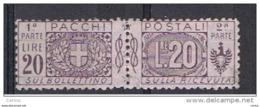 REGNO: 1914/22  P.P. CON  NASTRO  -  £. 20  VIOLA-BRUNO  S.G. -  SASS. 19 - Paketmarken