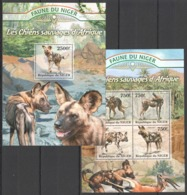 TT1345 2013 NIGER FAUNE NIGER WILD DOGS LES CHIENS SAUVAGES KB+BL MNH - Chiens