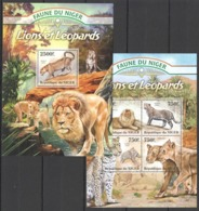 TT1348 2013 NIGER FAUNE NIGER WILD ANIMALS LIONS & LEOPARDS KB+BL MNH - Félins