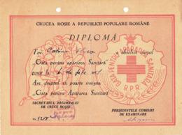 Romania, 1950's, Red Cross Graduation Diploma - Ready To Defend Health Care, RPR - Diplomas Y Calificaciones Escolares