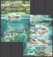 TT796 2013 NIGER FAUNE NIGER REPTILES CROCODILE LES CROCODILES KB+BL MNH - Reptiles & Batraciens