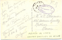 GUERRE 39-45 ALGÉRIE - ARMÉE DE L'AIR CENTRE D'INSTRUCTION DE BONE - CP Rédigée Le 8-9-1941 - Marcophilie (Lettres)