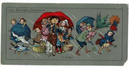 Grand Chromo AUX GALERIES LAFAYETTE L'ondée Pluie Tempete Parapluie Marché Canards - Autres