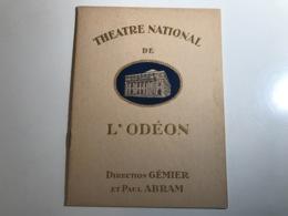 Programme THEATRE DE L'ODEON - 1927 - PARIS - Programmes