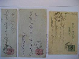 Deutschland/ Württemberg- Postkarte Mit Bahnpost Stempel, Bedarfsbrief Nach Reutlingen, Brief Zerschnitten - Wuerttemberg