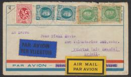 Houyoux - N°208 X2 Et 209 X2 Sur Lettre Par Avion De Mont-St-Amand (Gand, 1930) Vers Pelotas (Rio Grande, Brésil). TB - 1922-1927 Houyoux