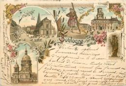 SOUVENIR DE BOULOGNE SUR MER - Carte Multi-vues Illustrée, Datée De 1898. - Boulogne Sur Mer