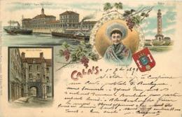 SOUVENIR CALAIS - Carte Multi-vues Illustrée, Datée De 1898. - Calais